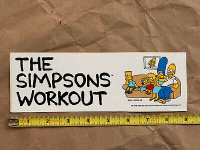 """Simpsons Workout vintage 1990 bumper sticker decal, 9"""" x 3"""", NEW"""