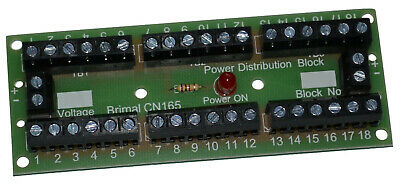 DC or DCC Input Power Distribution Board 18 way with Indicator LED