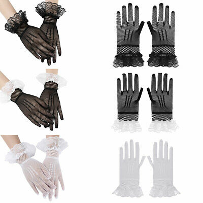 1 Pair Women Ladies Stretch Fishnet Lace Hollow Short Gloves Elegant for Party