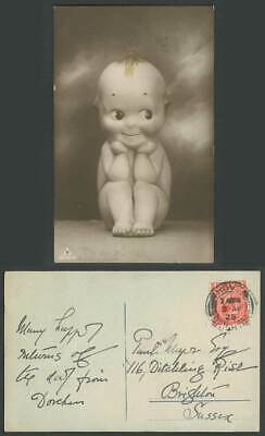 Cute Little Baby Doll with Big Eyes, Smile Children 1925 Old Real Photo Postcard