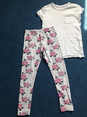 Brand New Primark Girls Pink Flower Design GreyLeggings And White Top 9-10years