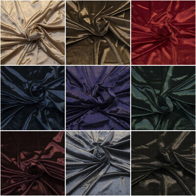 "Premium Velvet Gloss Finish Fabric 1-Way Stretch 60"" for Soft Furnishing & Dress"