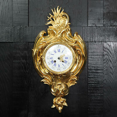 Antique French Gilt Bronze Rococo Cartel Wall Clock 1890