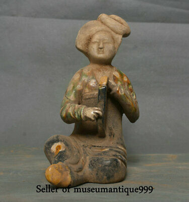 """7.6"""" Old Chinese Tang Sancai Pottery Dynasty Palace Music court lady Statue"""