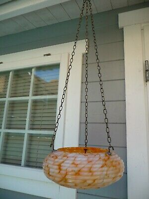 Antique French  Plafonnier Shade+Chains Art Deco Very Colourful 1920s/30s Period