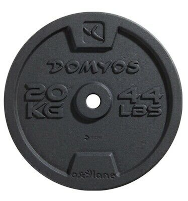 20Kg Weight Plate Discs Pair/ Domyos/ Gym/ Cast Iron