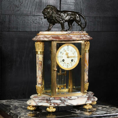 Japy Freres Four Glass Regulator Clock ~ Lion ~ Marble, Bronze And Ormolu 1880