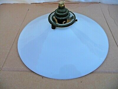 Antique French Single Milk Glass Light Shade With Original Brass Gallery Fitting