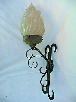 Vintage French Single Large Iron Wall Light With Flambe Glass Shade 1930s/1940s