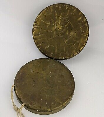 """Burmese Vintage / Antique Brass Gongs x 2 - One has Makers Stamp cymbal Bell 6"""""""