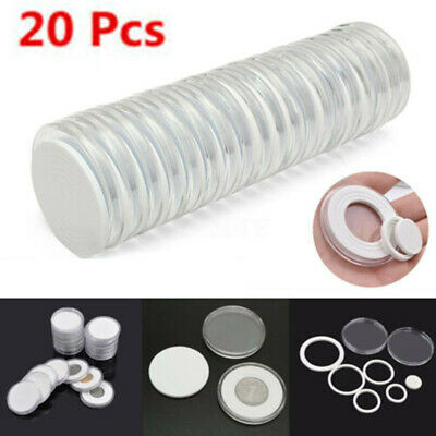 Round Coin Capsules Clear Plastic Case Holder All Internal Sizes: 16mm-36mm