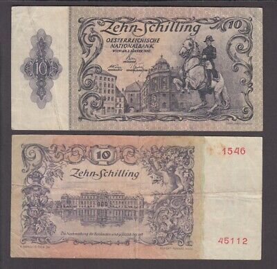 Austria banknote  P. 127 10 Schilling 1950 first Issue, F  We Combine