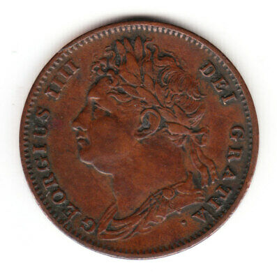 1826 Great Britain George IV FIRST HEAD Farthing Coin. gVF Grade.
