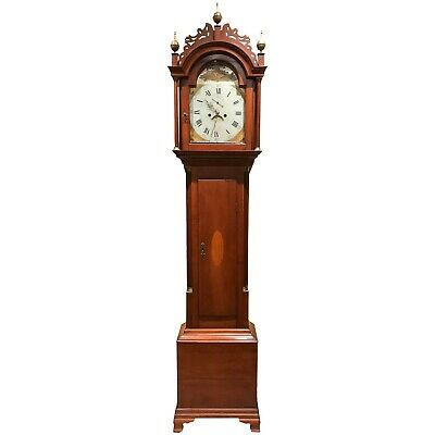 Federal Period New England Cherry Tall Case Clock with Painted Dial