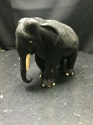 Ebony Wood Elephant Statue Figure