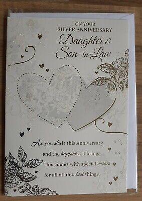 High quality . DAUGHTER AND SON IN LAW  25th Silver wedding Anniversary card