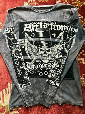 """Affliction Men's Long Sleeve Shirt """"Wanted Dead or Alive"""" Black/Gray sz. Large"""