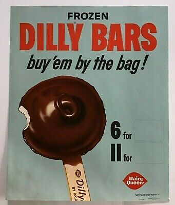 """Vintage 1967 Dairy Queen Dilly Bars Ad Promo Poster Litho 17"""" x 14"""""""