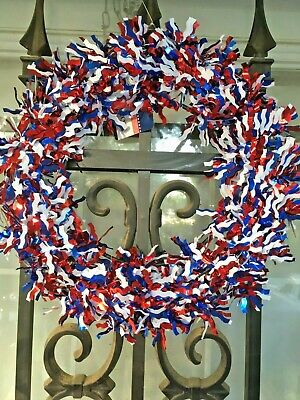 Patriotic Wreath Red White Blue Decoration DOOR/WALL Decor Tinsel NWT*USA SELLER