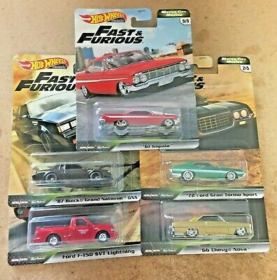 2020 Hot Wheels Fast Furious Motor City Muscle Case G 5 CAR SET -  IN STOCK