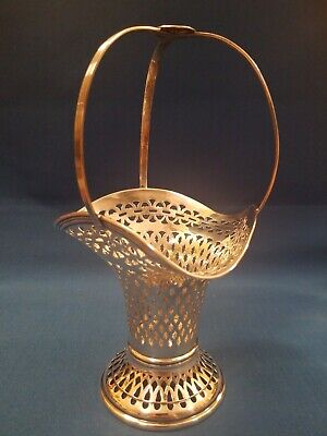 """Antique Sterling Silver Basket by John Round & Sons Sheffield 128 gr. 7 1/2"""" t"""