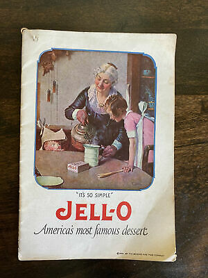 Vintage Jello Recipe Book Cookbook 1923 w/ Ice Cream Powder Insert Ephemera