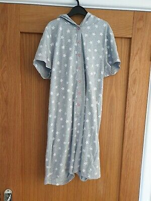 Girls short all in one pj Hoodie Grey white stars Size 13-14 Years M&S C315