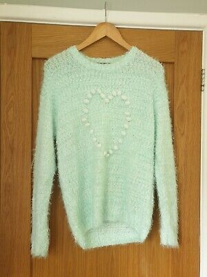 Girls Fluffy Mint Green Heart Jumper Size 13-14 Years GEORGE  C376