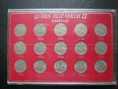 UK British 1953~1967 Elizabeth II 6 Pence Sixpence 15 Coin Collection Set cased