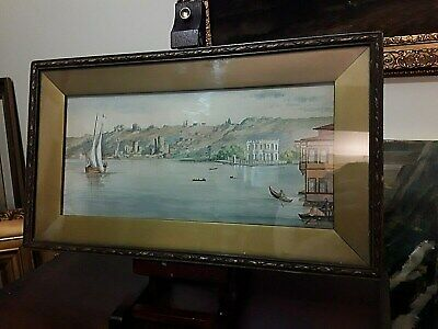 Antique early 20th century Italian watercolour painting venetian canal landscape