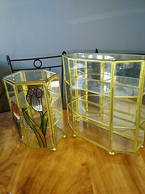 2 Brass Glass Mirror Base Curio Cabinet Display Table