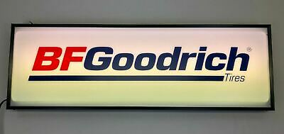 Lighted Dealer RED BLUE BF GOODRICH Tire Sign 12 X 36 Single Sided Hanging Sign