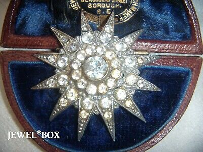 ANTIQUE ART DECO Diamond Paste Set Large Twelve Ray Star BROOCH with Old C Clasp