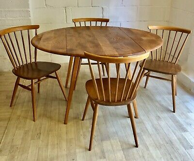 Vintage Ercol Bow Top Chairs and Drop Leaf Table (model 449, 384)