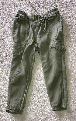 Next Girls Khaki Green Cargo Trousers Age 3