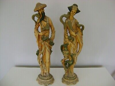Male and Female Oriental Chinese Resin Figures in great condition 50cm tall.
