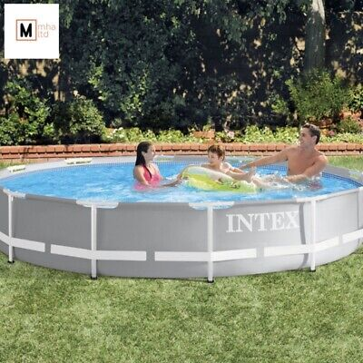 Intex 12ft (3.7m) Round Prism Frame Pool with Filter Pump - Mhaltd