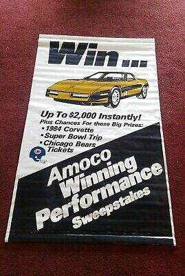 """Vintage AMOCO Chicago Bears Sweepstakes Vinyl Advertising Banner Sign  70""""x44"""""""