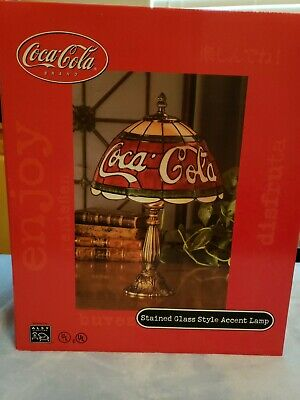 """Coca-Cola Coke 16"""" Lamp Stained Glass Tiffany Style Plastic Shade Bar Light"""
