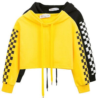 DB Kids Girls Autumn Winter Cropped Pullover Tops Drawstring Hooded Warm Sweater