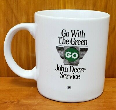 "John Deere Service Coffee Mug Cup 1989 Go With The Green Quote 3.75"" Tall"