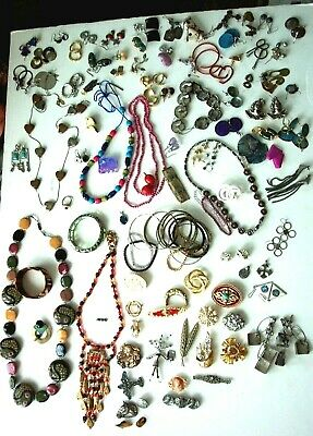 140+ Vintage Costume Jewelry Lot Earrings Brooches Bracelets Necklaces