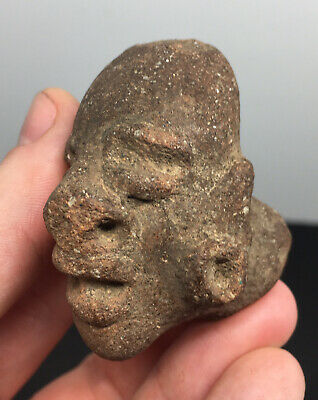 Ancient Grotesque Pre-Columbian Stone Head Fragment Human Ritual Artifact