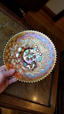 Awesome Marigold Northwood Carnival Glass Three Fruits Plate