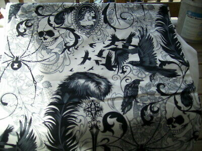 Fabric by the 1/4 yard Alexander Henry After Dark skull spider