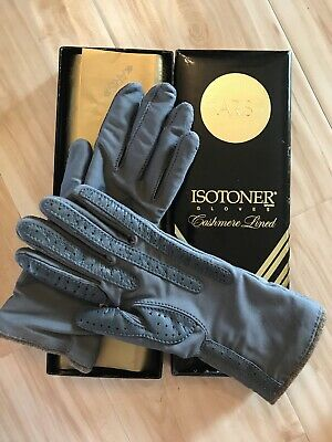 Mint Condition W/ Box ladies Isotoner Aris Grey one size cashmere lined gloves