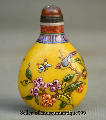 "3"" Marked Old China coloured glaze Dynasty Yellow Bird snuff bottle snuff box"