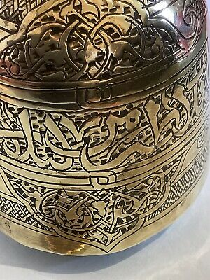 Antique Art Nouveau Brass-Persia/ India-Holy Water Pot-Copper Rivets In Handle