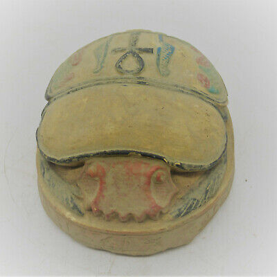 Beautiful Ancient Egyptian Stone Scarab With Heiroglyphs