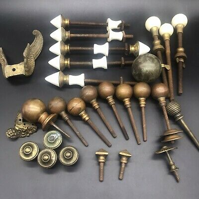 Job Lot Of Antique Clock Finials-ball Toppers Brass Ceramic Long Case Mantle